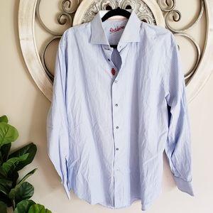 Robert Graham Blue Stripped Button Down Shirt